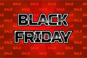 Black friday sale inscription design template on red background