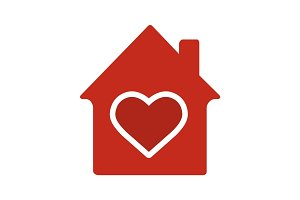 Family house glyph color icon