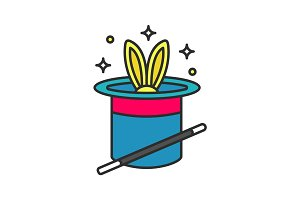 Rabbit in hat and magic wand color icon