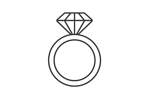 Ring with diamond linear icon