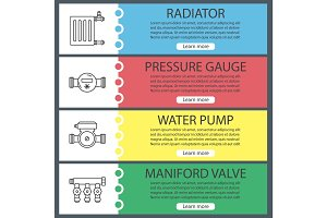 Plumbing web banner templates set