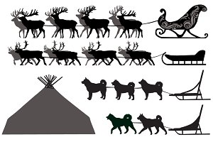 Deer and dog sleds