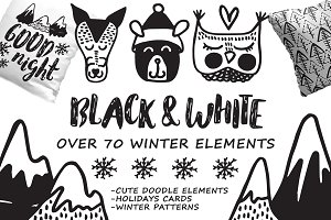 Black&White winter- hand drawn set