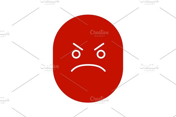 Angry smile glyph color icon