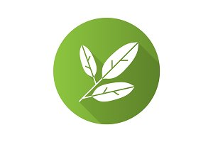 Bay leaves flat design long shadow glyph icon