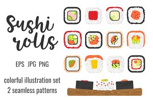 Set and patterns of sushi rolls