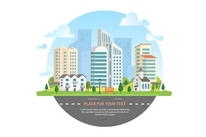 Cityscape with a place for text - modern vector illustration
