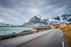 Road in fjord in Norway