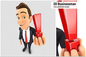 3D Businessman Exclamation Mark