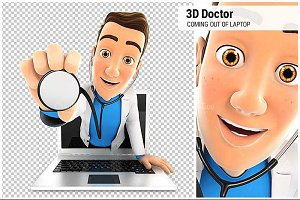 3D Doctor Coming Out of Laptop