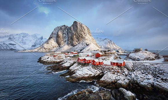 Hamnoy fishing village on Lofoten Islands, Norway  in Graphics
