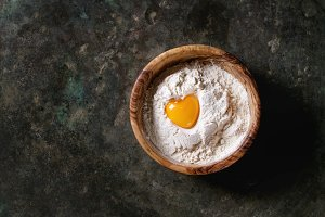 Flour and egg yolk