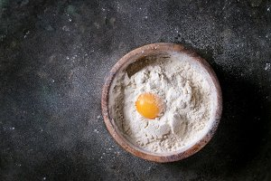 Flour and egg yolk