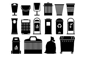 Garbage cans black silhouettes