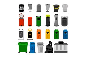 Trash cans colorful icons collection