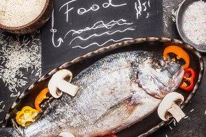 Dorado fish, rice and vegetables