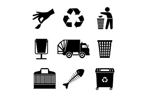 Black garbage icons