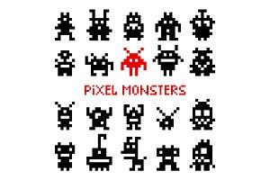 Pixel space monsters