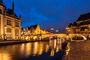 Ghent in the night, Belgium
