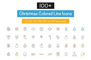 100+ Christmas Colored Line Icons