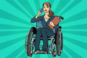 Beautiful woman disabled businesswoman
