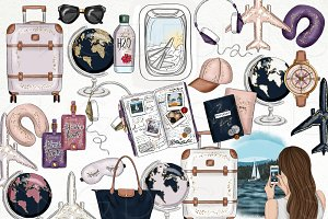 Travel Fashion Girl Clip Art