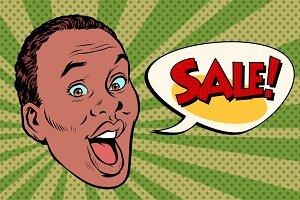 head pop art style sale African man