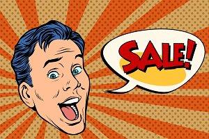 head pop art style sale man