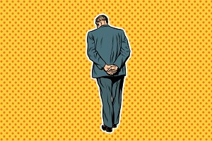 adult man standing with back pop art retro background