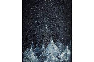 Winter forest and night