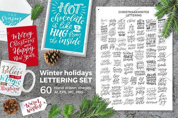 Winter holidays set   60 lettering