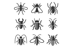 Beetle, Insect and Bug Icons Set