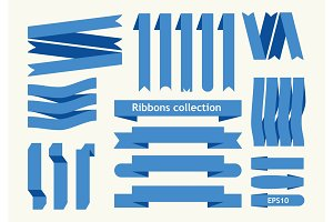 Collection of vector ribbon signs