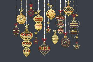 Glitter Christmas Ornament Set