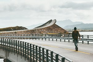 Man running away at Atlantic road