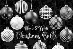 Black and White Christmas Balls
