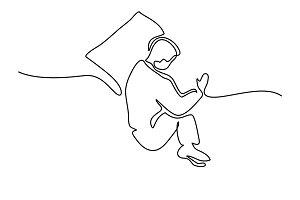 Man in sleeping pose on pillow
