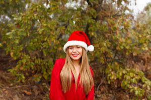 Attractive girl with Santa´s Hat
