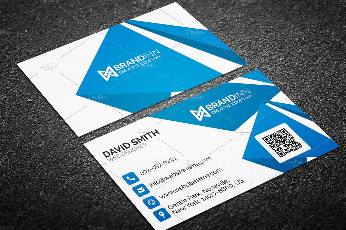 busniess card template - creative abstract blue business card business card