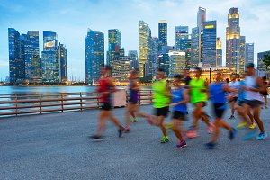 Group of runners in Singapore