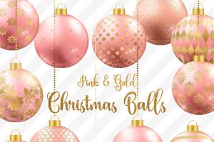 Pink and Gold Christmas Balls