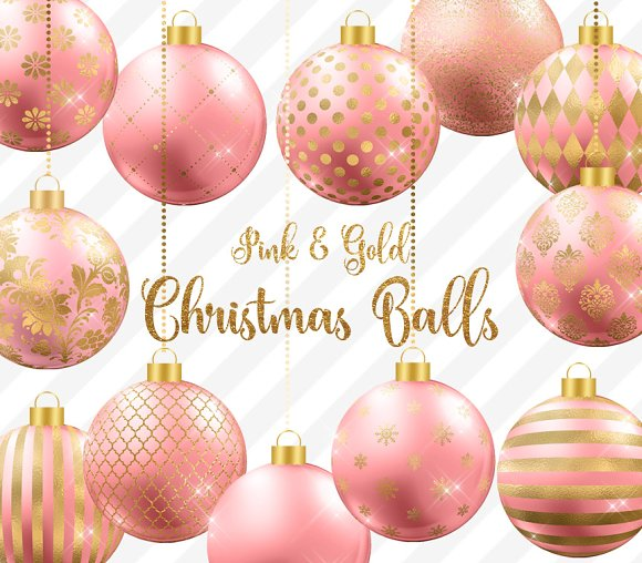 pink and gold christmas balls objects