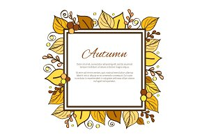 Autumn Frame and Leaves on Vector Illustration
