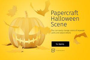 Papercraft Halloween Scene