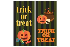 Trick or Treat Halloween Poster with Pumpkins