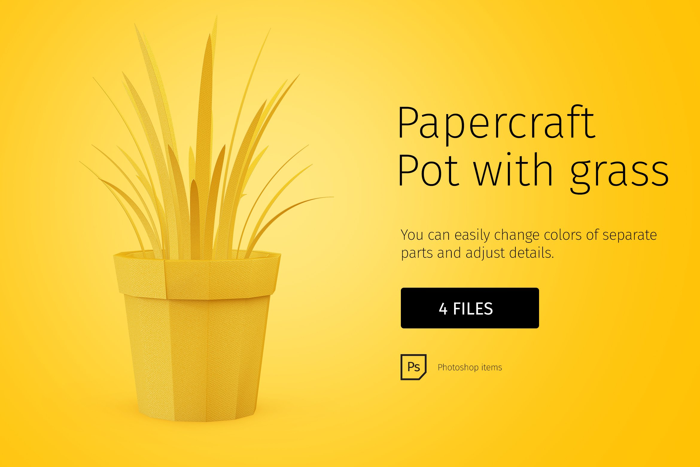 Papercraft pot with grass graphic objects creative market mightylinksfo