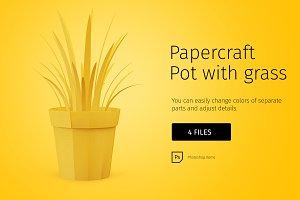 Papercraft pot with grass