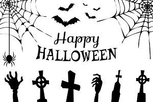 Happy Halloween Creepy Poster Vector Illustration