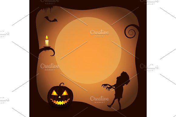 Halloween Poster Background With Zombie Silhouette