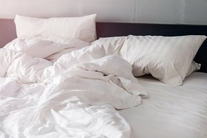 bed and white pillows